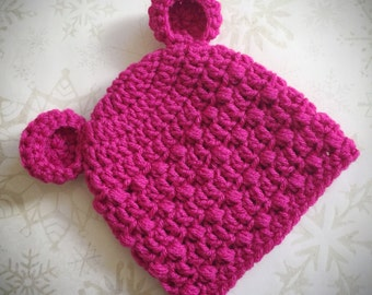 Hot Pink Baby Infant Bear Ears Hat