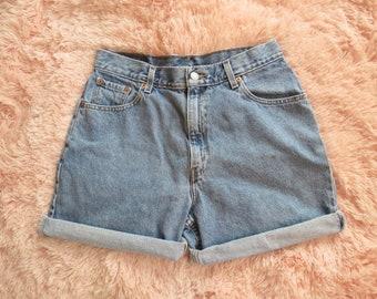 Vintage Levis Denim Shorts High Waist Jean Shorts Womens Size 12 Large Regular Medium Blue Wash 1990s 90s Summer Festival Hipster