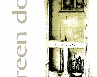 Monochromatic Photography, screen door, weathered screen door, rustic, primitive, olive green, black, Country Home Decor, Fine Art Print