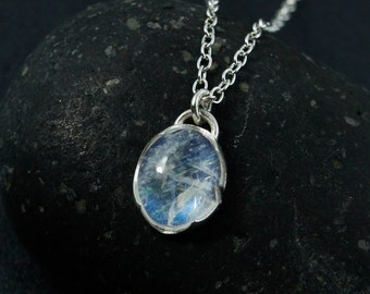 Oval Rainbow Moonstone Necklace, June Birthstone Necklace, Natural Rainbow Moonstone