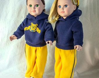 "Custom Colors & Logo on Hoodies for American Girl Doll Clothes; Sweatshirts for 18"" Dolls Girls and Boys. Army Nurse Corps, Army Strong, RN"