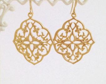 Gold Dangle Earrings Anniversary Gift for Her Flower Earrings Art Nouveau Earrings Bridesmaid Earrings Boho Earrings Gold Earrings Silver