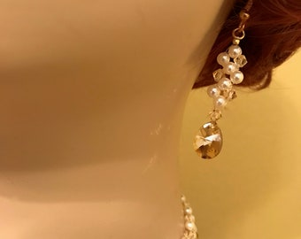 Swarovski Crystal Earrings: Golden Shadow and Pearls