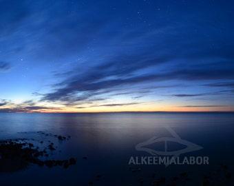 Northern horizon reflection - fine art photography, instant download printable art, night sky, wall art, home decor, seascape, stars, cloud