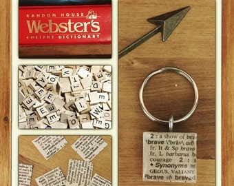 Dictionary Word KEYCHAIN, or CHARM only, choose any word, choose any letter, personalized keychain,  brave, book lover gift