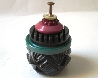 Vintage Button Ring Box and Proposal Box:  Multi-Color Vintage Button & Black Glass Salt Cellar Jewelry Box