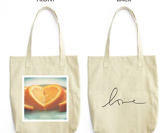 orange heart tote bag, teenager gift, love tote, fruit print, cooking, blue fashion accessory, for her, stocking stuffer, teachers gift