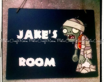 Plants vs Zombies Chalkboard  Personalized Room Sign
