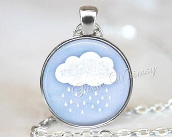 RAIN CLOUD Necklace Pendant Jewelry or Keychain, Rainy Day, Rain Drop Blue Watercolor Nature Art, Wather Jewelry, Meteorologist Gift