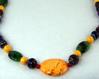 Yellow Turquoise, Rainbow Calsilica, Red Jade and Green Agate Beaded Necklace and Earrings Set.