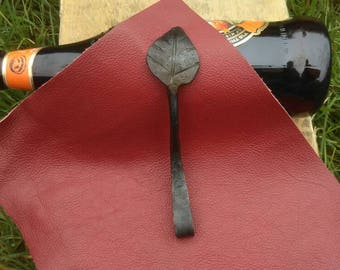 Hand forged leaf bottle opener. Made in England #2