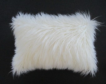 White Faux Fur Lumbar Pillow Long Curly Mongolian Lamb Cover Zipper
