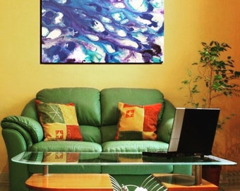 "Original ""waves"" acrylic abstract painting"