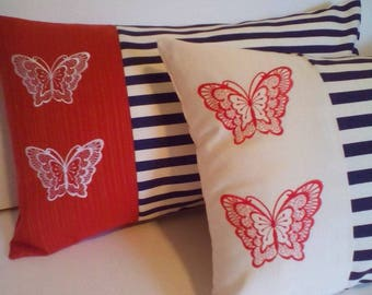 Summer essentials.White Red and Butterflies. Pillows 20 dollars for small and only 28.00 for BIG one. Embroidery on both sides.