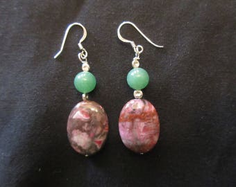 Sterling Silver Ocean Jasper and Jade Hook Earrings