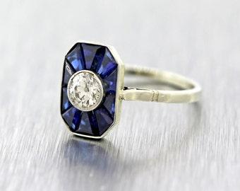 Vintage Estate Solid 18K White Gold .50ct Diamond Sapphire Engagement Ring