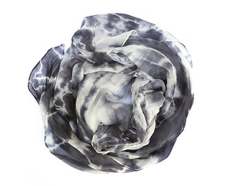 Large Square Scarf- Grey and White Abstract Organic Shibori Hand Dyed Silk Chiffon Women's Scarf