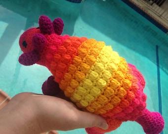 Rainbow Dinosaur, Ankylosaurus, Armored Dinosaur, Rainbow Lovey, Striped Dinosaur, Rainbow Baby Gift, Dinosaur Toy, Ankylosaur, Rainbow Toy