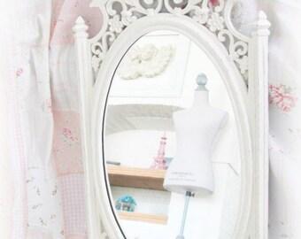 Ornate Vintage Mirror, Wedding Chalkboard Mirror Combo, Vintage Syroco Antique White Nursery Mirror Chalkboard