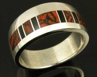 Dinosaur Bone Ring with Black Onyx, Dinosaur Bone Wedding Band, Dinosaur Bone Wedding Ring, Bone Ring in Sterling Silver