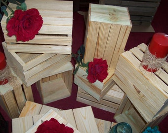 Crates wedding reception decorations centerpiece 5 rustic wood planter box vases barn country wedding decorations crates