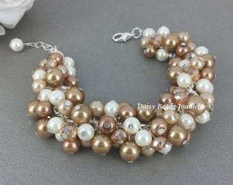 Champagne Cluster Bracelet Champagne Bracelet Bridesmaids Jewelry Champagne and Ivory Bracelet Pearl Jewelry