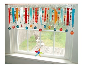 SASSY Southwest Turquoise Beaded  Stained Glass Window Treatment Kitchen Valance Curtain