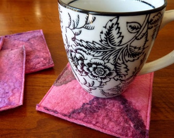 Wool Cup Coasters - Pink Drink Coaster Set - Set of 4 - Mug Coasters - Pink Opal - Fabric