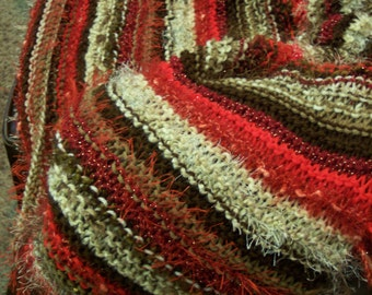Soft Brown, Neutral and Red Textured Afghan / Throw Knit or Crochet Pattern - free shipping