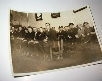 Vintage Group Photograph NE Bus Company Staff Old New England Bus Route Line Staff and Workers Occupational Photo Circa 1930s