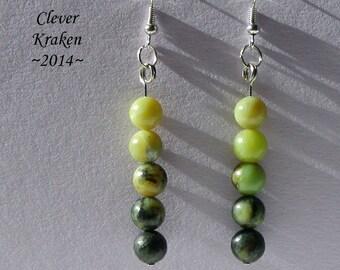 Jasper bead Gradient Earrings, Green to Black