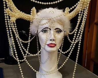 Headpiece headdress drag showgirl burlesque forest elf beaded antlers