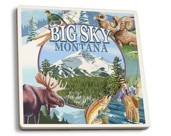 Big Sky, Montana - Montage Scenes - LP Artwork (Set of 4 Ceramic Coasters)
