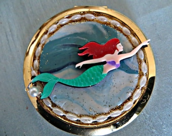 Compact mirror_swimming mermaid compact mirror_hand held mirror_beauty accessory