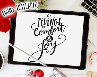 Tidings Of Comfort And Joy SVG Cut File, Christmas Printable, God Rest Ye Merry Gentlemen, Silhouette Cameo, Cricut Design Space, Joy JPG
