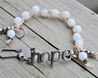 HOPE WHITE HANDTIED Bracelet Gunmetal Hope and Closure