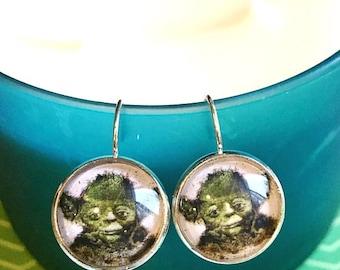 Yoda Star Wars cabochon earrings - 16mm