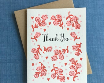 Thank You Roses Letterpress Card