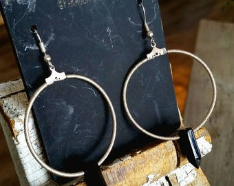 Onyx and Silver-Plated Copper Earrings