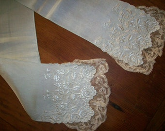 Lappet of fine lace and silk late 1800s heirloom  hand done