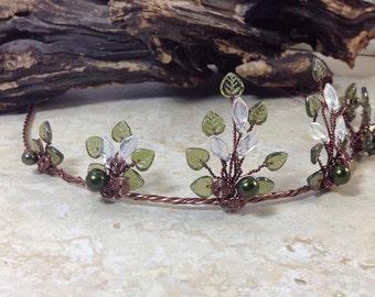 Spring Woodland Wedding Tiara Circlet, Bohemian Fantasy Wedding Boho Leaf Flower Crown, Elven Lothlorien Cosplay Circlet, Elven Headdress