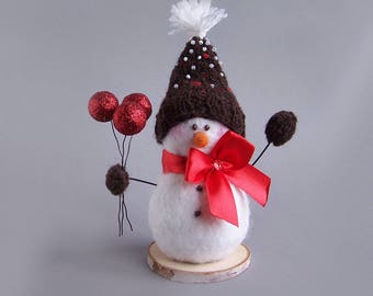 Winter snowman decor with hat, bow, mittens. White winter rustic Christmas Indoor Decoration. Cute gift 18cm/7""