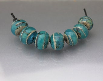Light aqua Lampwork glass bead set Lampwork bead set round beads Handmade glass beads lampwork blue beads Anne Londez SRA