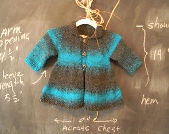 Girl's Turquoise & Gray Knit Coat