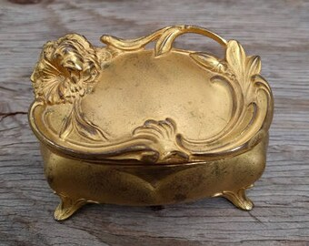 Vintage Gold Ornate Jewelry Box