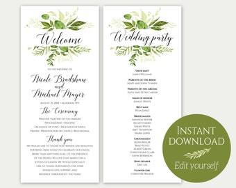 Wedding Program Template, Printable Ceremony Template, Wedding Program Printable, Order Of Ceremony, Greenery Program, PDF Template, DIY, C8