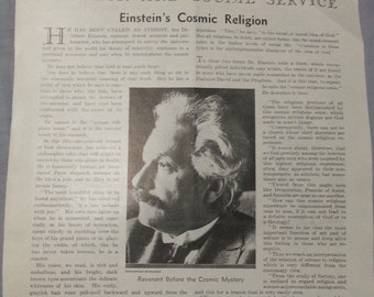 Albert Einstein 1930 Cosmic Religion article from Literary Digest