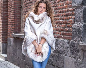 White lined with faux fur poncho