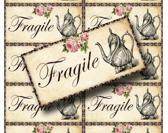 TEAPOT Fragile Shipping Labels Digital Collage Sheet Instant Download Paper Crafts Original Whimsical Altered Art by GalleryCat CS58