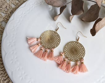 Earrings tassels peach Juliet